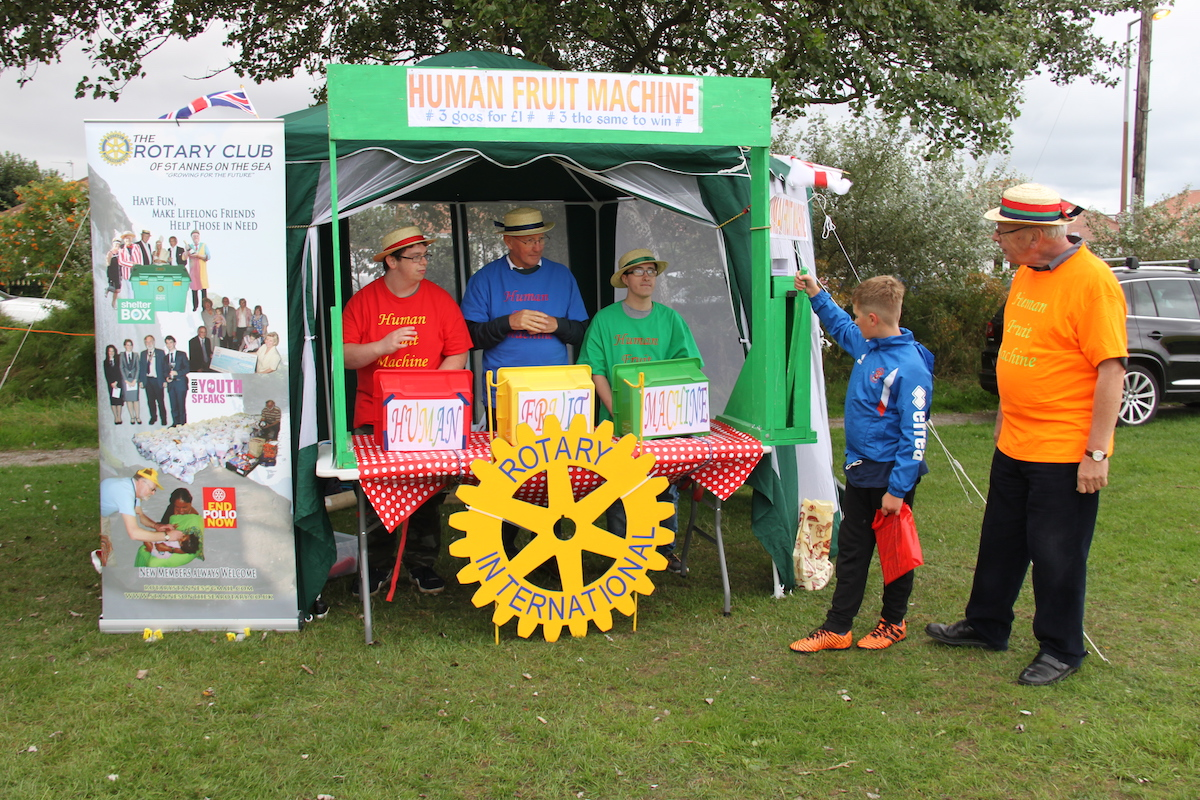 Rotary were there with their Human Fruit Machine. Always a crowd pleaser. You do feel weary at the end of a shift